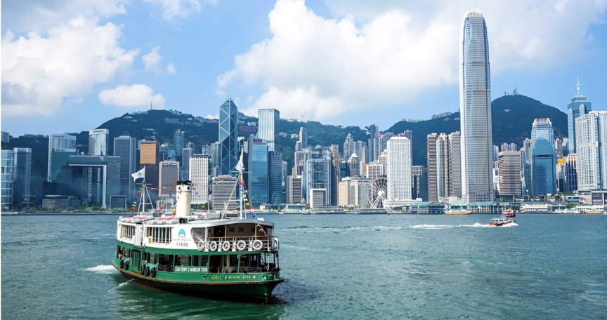 Classic landscape view of Hong Kong Victoria Harhour looking from the Kowloon side