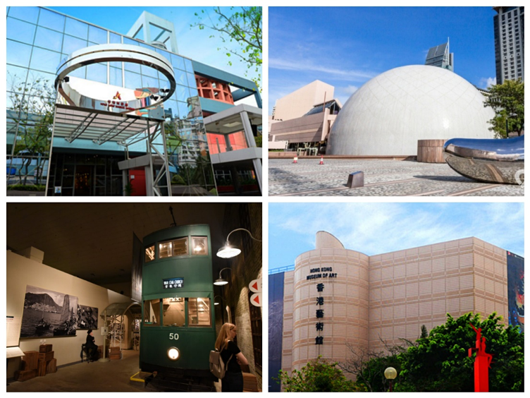 The outlook of Hong Kong Museum of Art and the famous tram exhibition in the museum