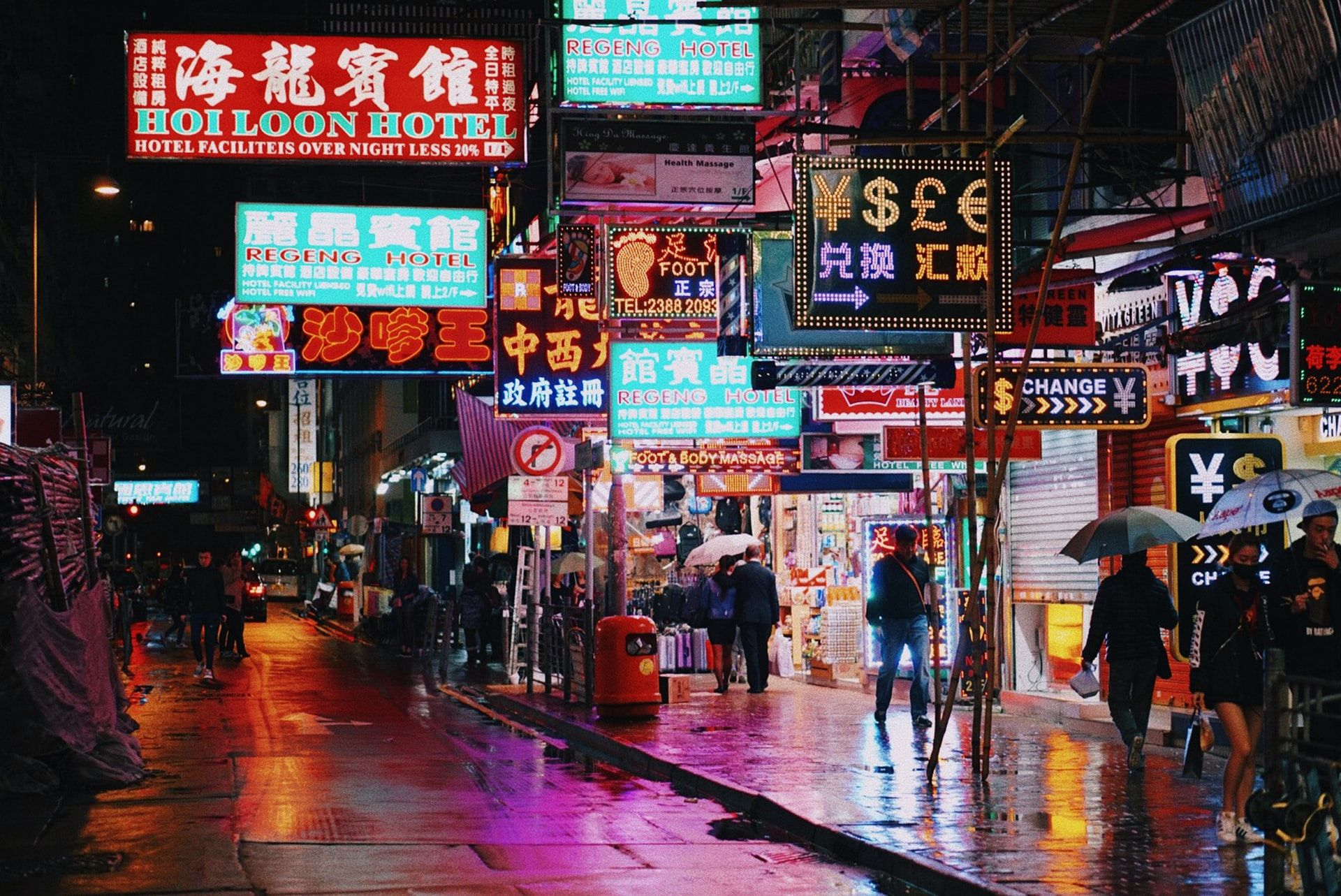 香港旺角夜晚霓紅燈