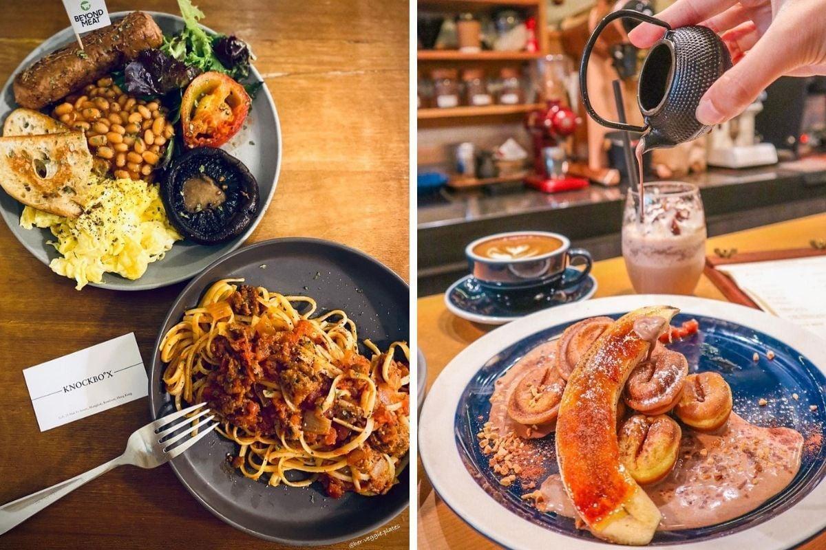 旺角cafe-knockboxcompany-素食菜式和咖啡豆形狀的窩夫